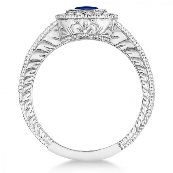 Halo Blue Sapphire and Diamond Ring 14K White Gold (1.00ct)