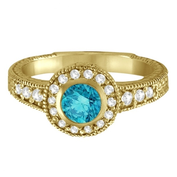 Fancy Blue & White Diamond Antique Style Ring 14k Yellow Gold (0.80ct)