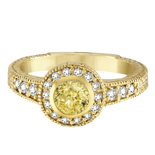 Yellow Canary & White Diamond Antique Style Ring 14K Y Gold (0.80ct)
