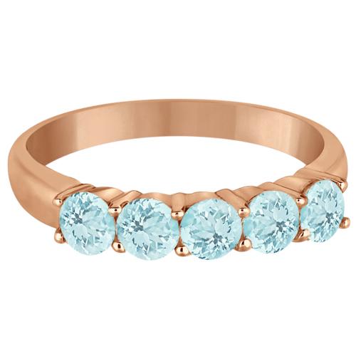 Five Stone Aquamarine Ring 14k Rose Gold (1.60ctw)