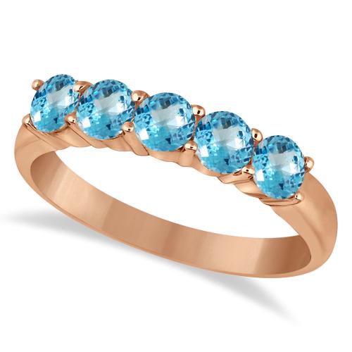 Five Stone Blue Topaz Ring 14k Rose Gold (1.60ctw)