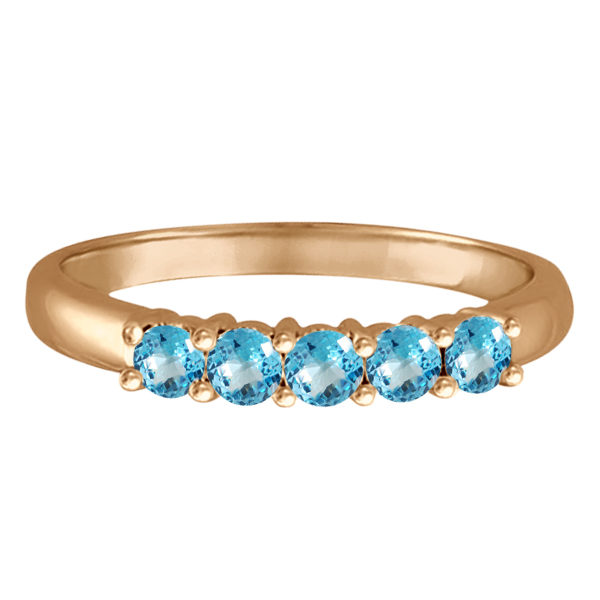 Five Stone Blue Topaz Ring 14k Rose Gold (0.79ctw)