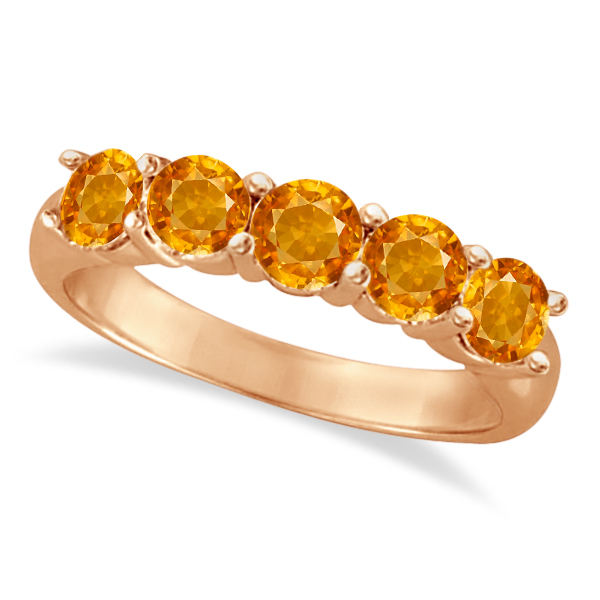 Five Stone Citrine Ring 14k Rose Gold (2.20ctw)