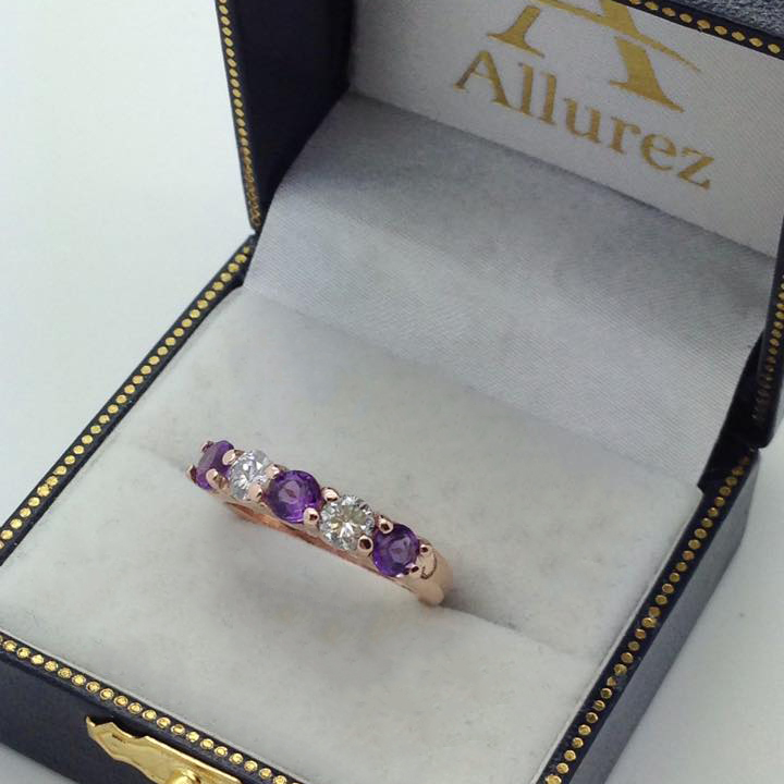 Five Stone Diamond and Amethyst Ring 14k Rose Gold (1.36ctw)
