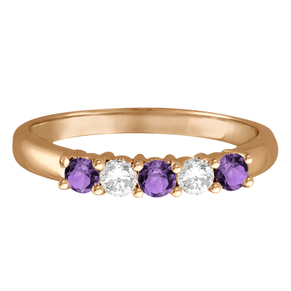 Five Stone Diamond and Amethyst Ring 14k Rose Gold (0.67ctw)