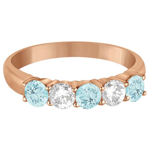 Five Stone Diamond and Aquamarine Ring 14k Rose Gold (1.36ctw)