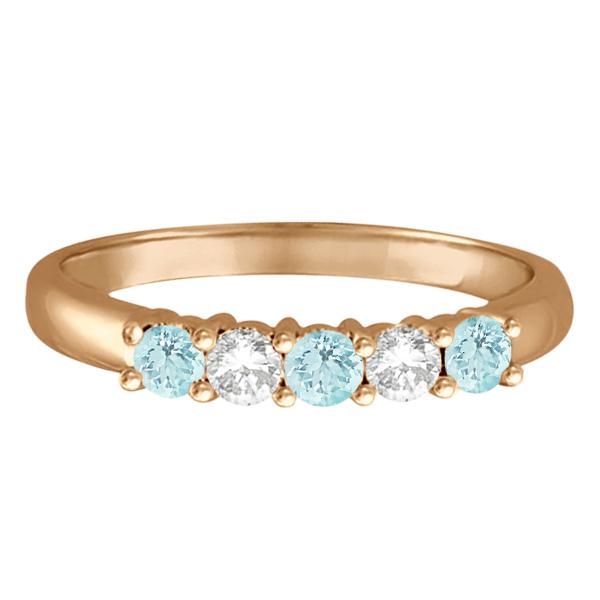 Five Stone Diamond and Aquamarine Ring 14k Rose Gold (0.67ctw)