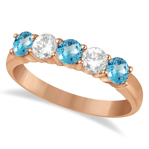 Five Stone Diamond and Blue Topaz Ring 14k Rose Gold (1.36ctw)