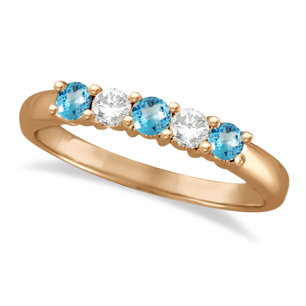 Five Stone Diamond and Blue Topaz Ring 14k Rose Gold (0.67ctw)