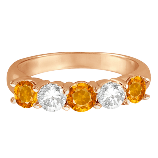 Five Stone Diamond and Citrine Ring 14k Rose Gold (1.92ctw)