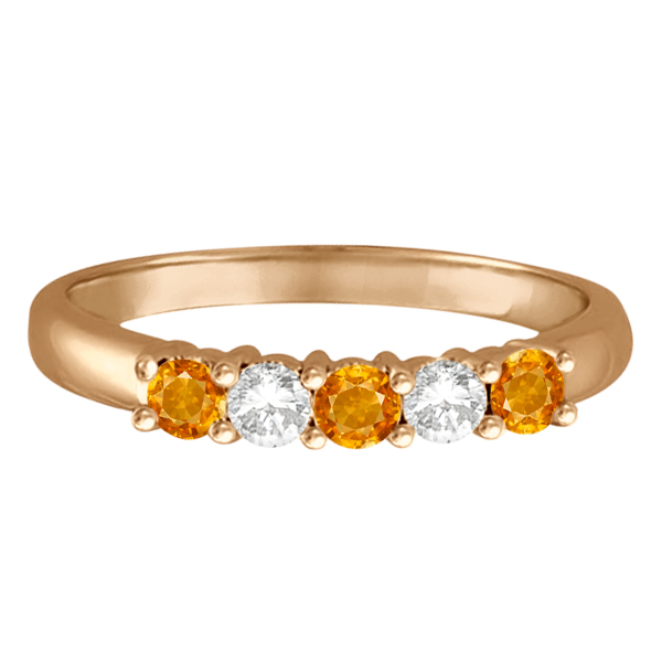 Five Stone Diamond and Citrine Ring 14k Rose Gold (0.67ctw)