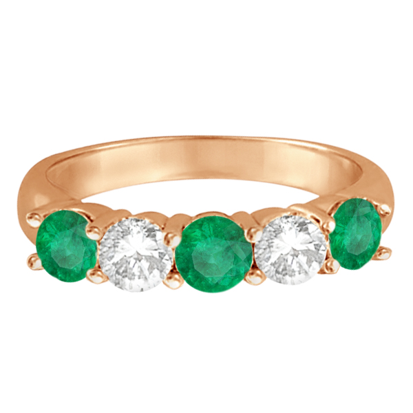 Five Stone Diamond and Emerald Ring 14k Rose Gold (1.95ctw)