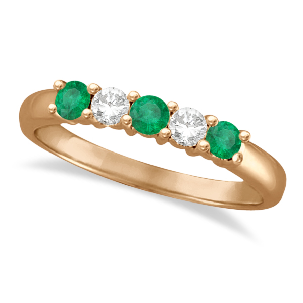 Five Stone Diamond and Emerald Ring 14k Rose Gold (0.55ctw)