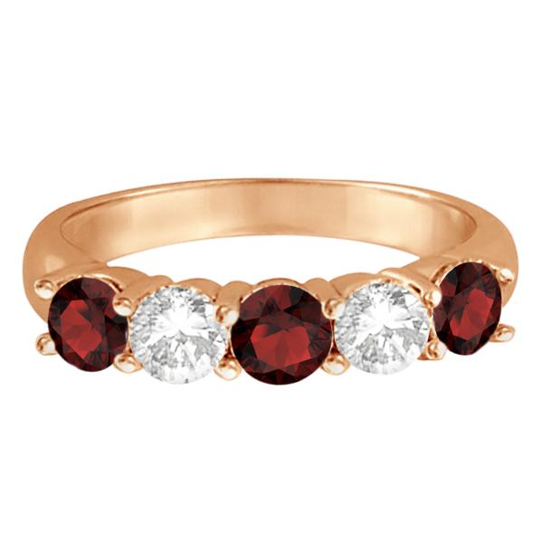 Five Stone Diamond and Garnet Ring 14k Rose Gold (1.92ctw)