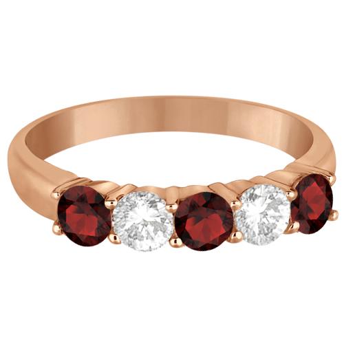 Five Stone Diamond and Garnet Ring 14k Rose Gold (1.36ctw)