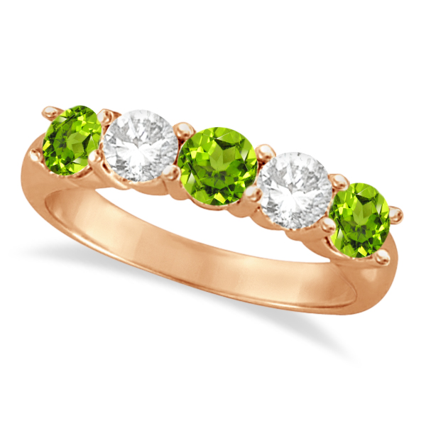 Five Stone Diamond and Peridot Ring 14k Rose Gold (1.92ctw)