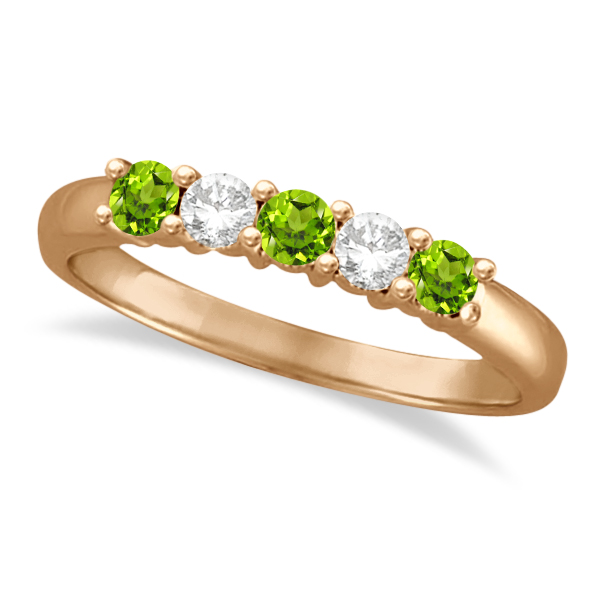 Five Stone Diamond and Peridot Ring 14k Rose Gold (0.67ctw)