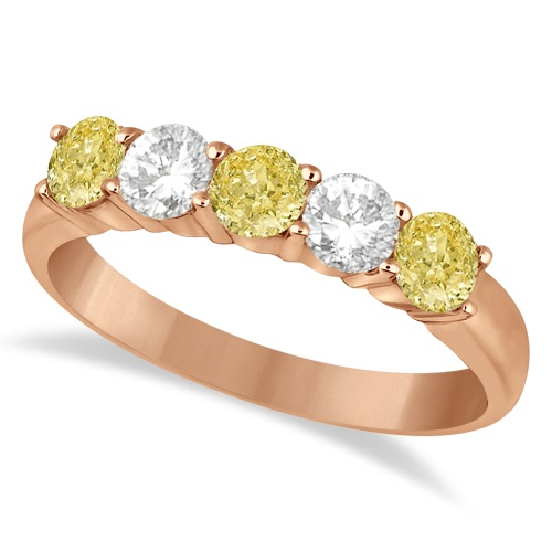 Five Stone White & Fancy Yellow Diamond Ring 14k Rose Gold (1.00ctw)