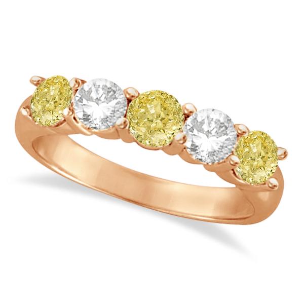 Five Stone White & Fancy Yellow Diamond Ring 14k Rose Gold (1.50ctw)