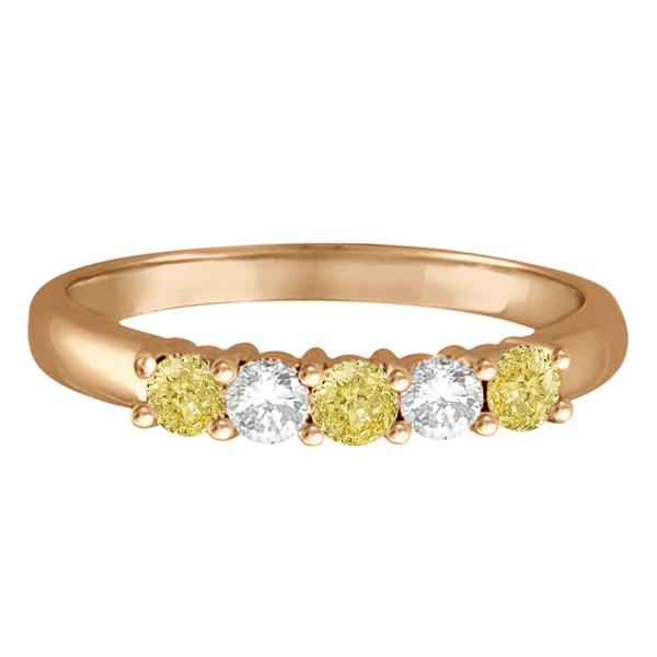 Five Stone White & Fancy Yellow Diamond Ring 14k Rose Gold (0.50ctw)