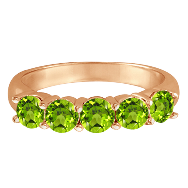 Five Stone Peridot Ring 14k Rose Gold (2.20ctw)