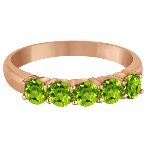 Five Stone Peridot Ring 14k Rose Gold (1.60ctw)