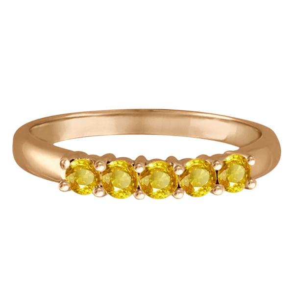 Five Stone Yellow Sapphire Ring 14k Rose Gold (0.60ctw)