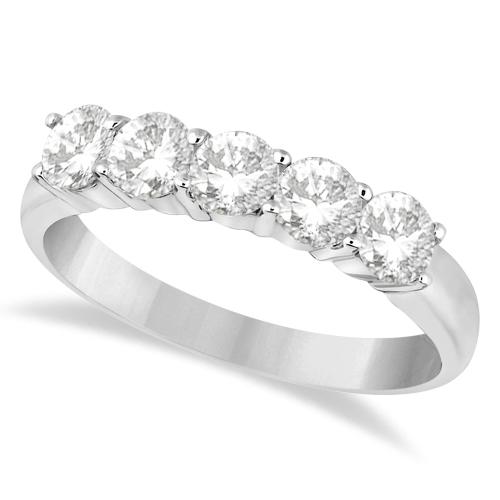 Five Stone Diamond Ring Anniversary Band Palladium (1.00ctw)