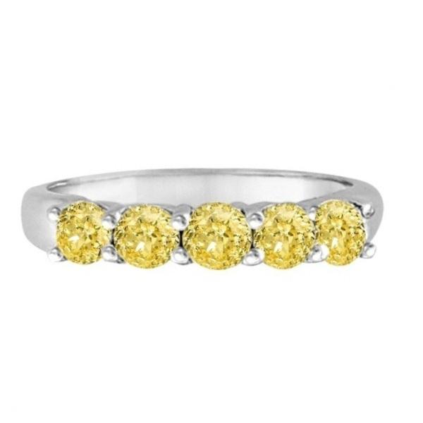Five Stone Fancy Yellow Canary Diamond Anniversary Ring 14k White (1.00ct)