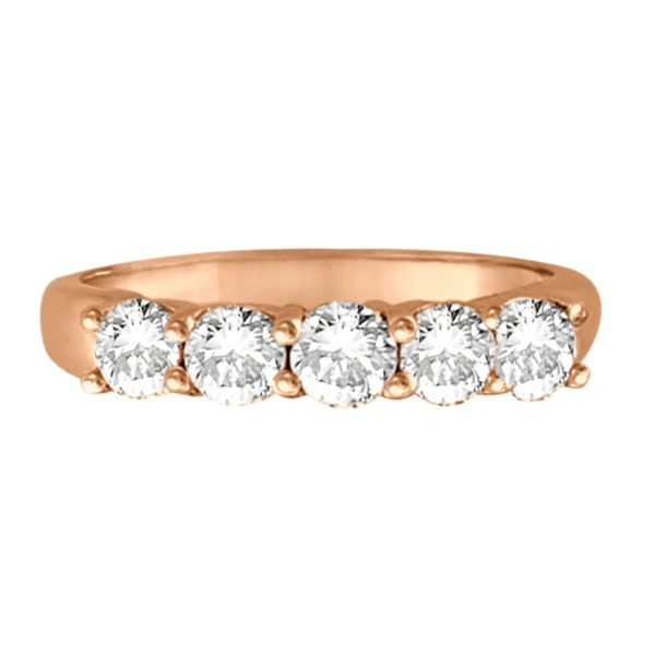 Five Stone Diamond Ring Anniversary Band 14k Rose Gold (1.00ctw)
