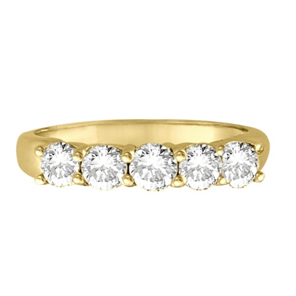 Five Stone Diamond Ring Anniversary Band 14k Yellow Gold (1.00ctw)