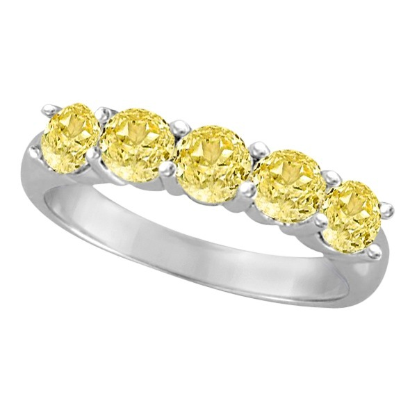 Five Stone Fancy Yellow Canary Diamond Anniversary Ring 14k White (1.50ct)
