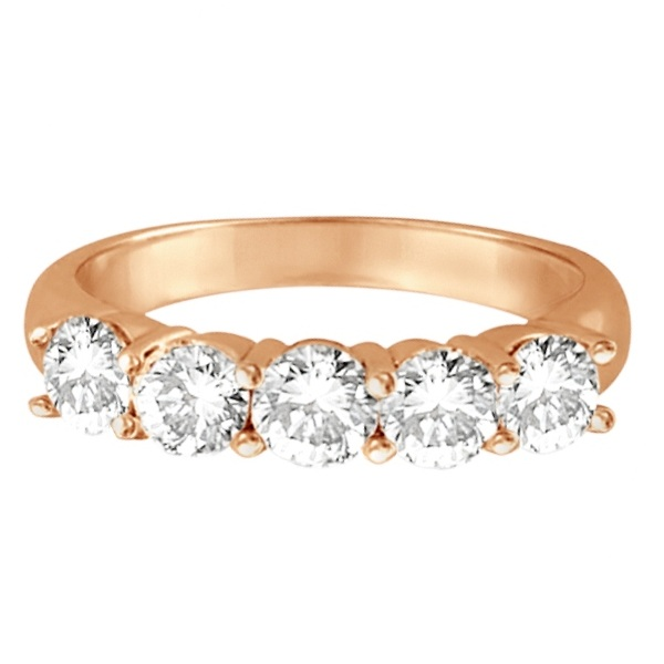 Five Stone Diamond Ring Anniversary Band 14k Rose Gold (1.50 ctw)