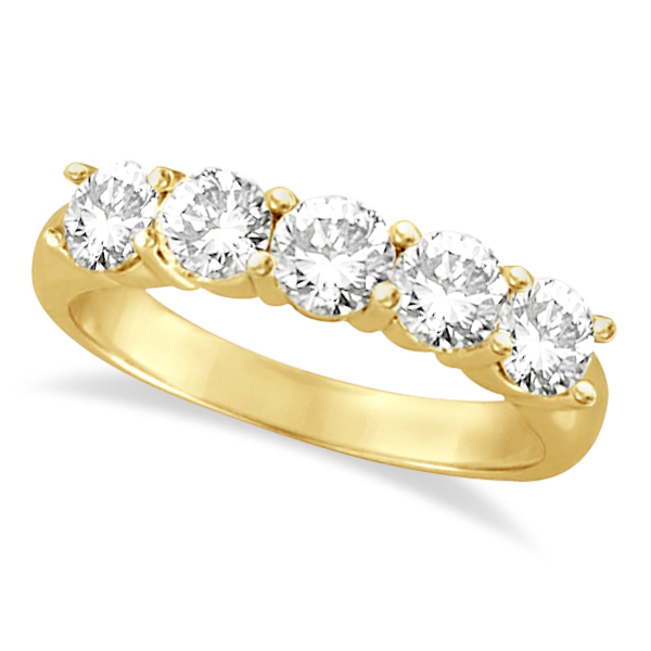 Five Stone Diamond Ring Anniversary Band 14k Yellow Gold (1.50 ctw)