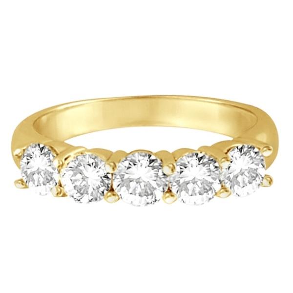 Five Stone Diamond Ring Anniversary Band 14k Yellow Gold (1.50 ctw)