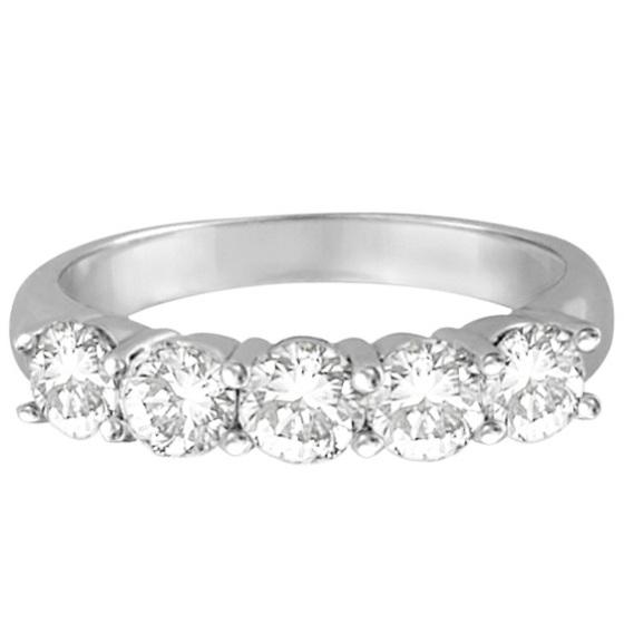 Five Stone Diamond Ring Anniversary Band 14k White Gold (1.50ctw)