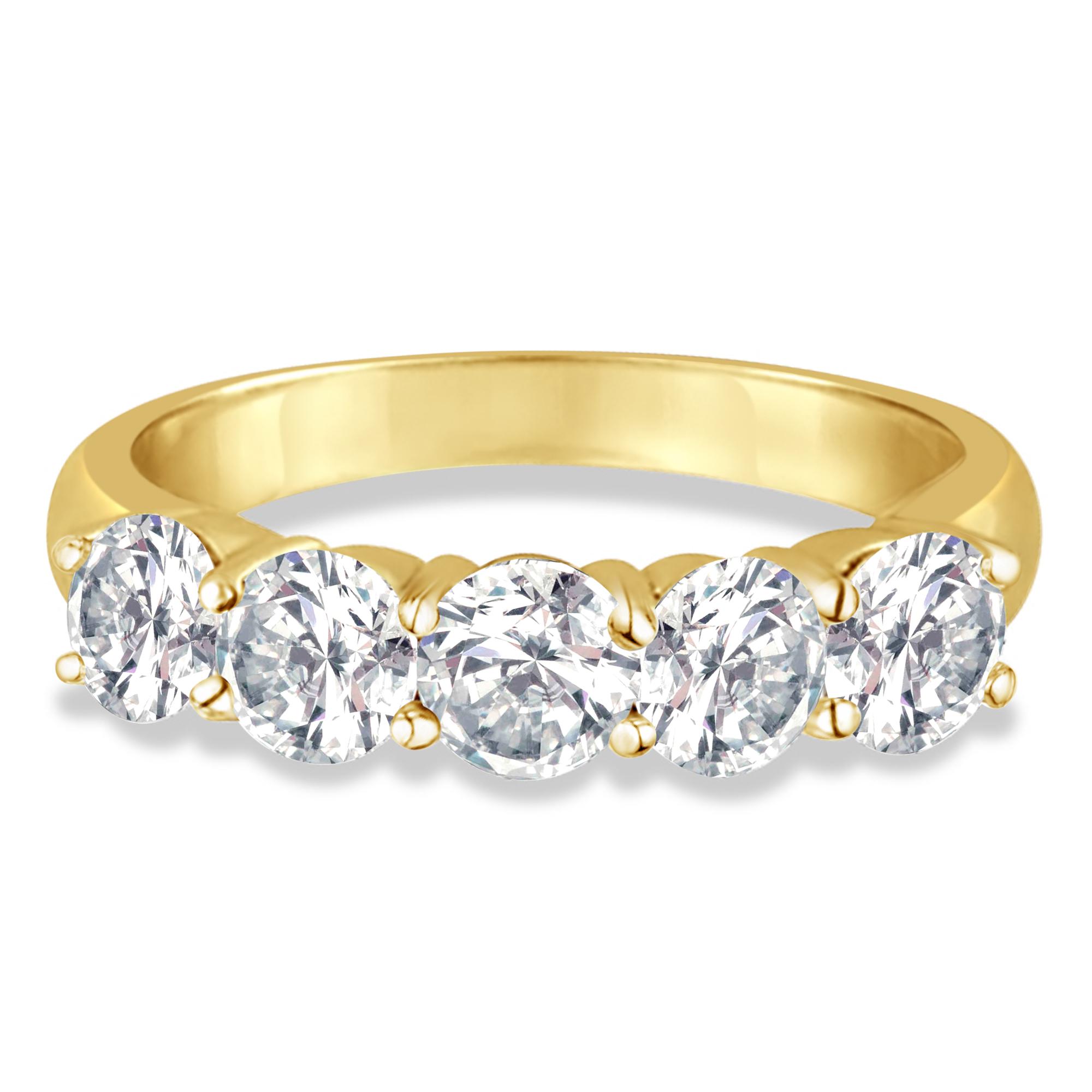 five stone diamond ring anniversary band 18k yellow gold. Black Bedroom Furniture Sets. Home Design Ideas