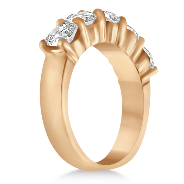 Five Stone Diamond Ring Anniversary Band 14k Rose Gold (2.50 ctw)
