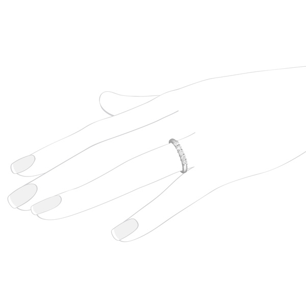 Five Stone Diamond Ring Anniversary Band Palladium (0.50ctw)