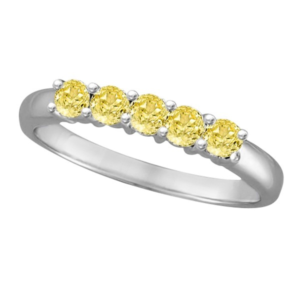 Five Stone Fancy Yellow Canary Diamond Anniversary Ring 14k White (0.50ct)