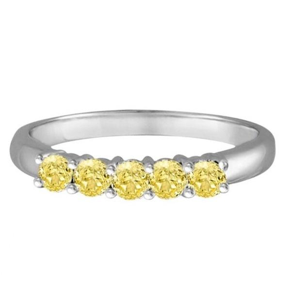 Five Stone Fancy Yellow Canary Diamond Anniversary Ring 14k White (0.50ct)
