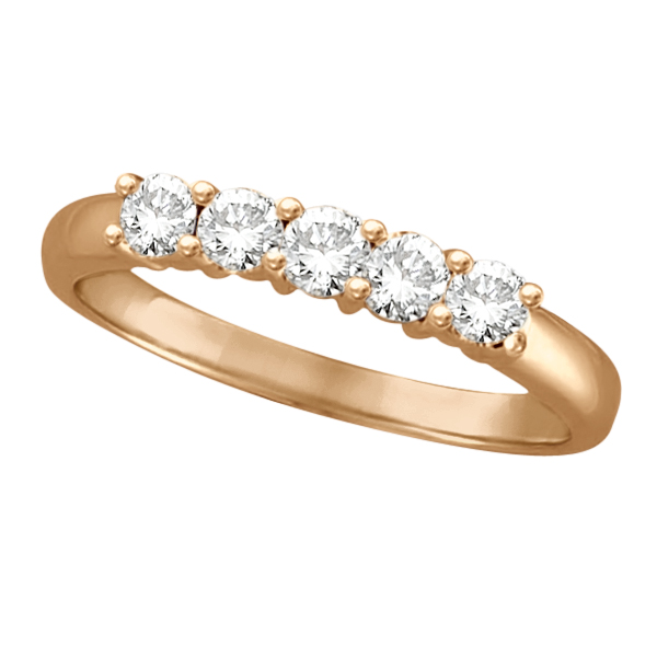 Five Stone Diamond Ring Anniversary Band 14k Rose Gold (0.50ctw)