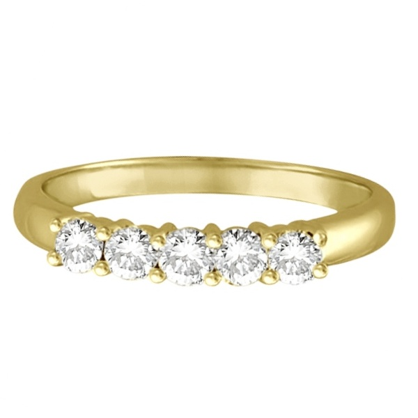 Five Stone Diamond Ring Anniversary Band 14k Yellow Gold (0.50ctw)