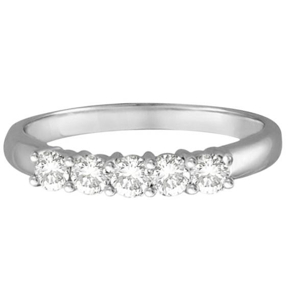 Five Stone Diamond Ring Anniversary Band 14k White Gold (0.50ctw)