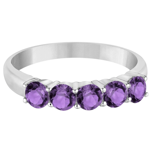 Five Stone Amethyst Ring 14k White Gold (1.60ctw)