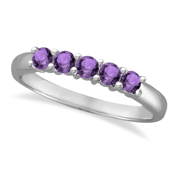 Five Stone Amethyst Ring 14k White Gold (0.79ctw)