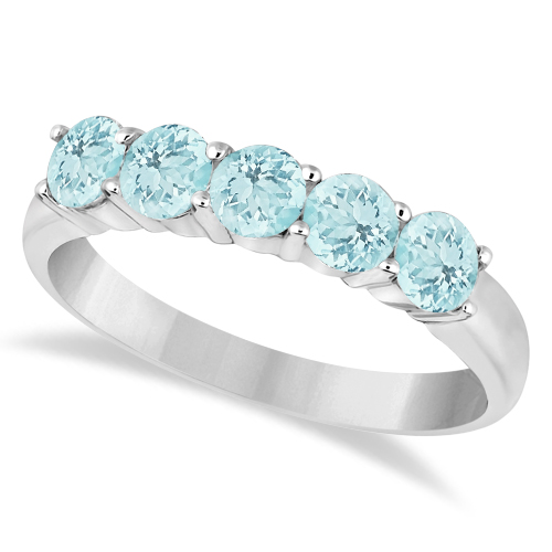 Five Stone Aquamarine Ring 14k White Gold (1.60ctw)
