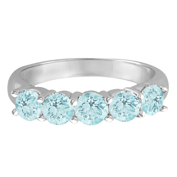 Five Stone Aquamarine Ring 14k White Gold (2.20ctw)