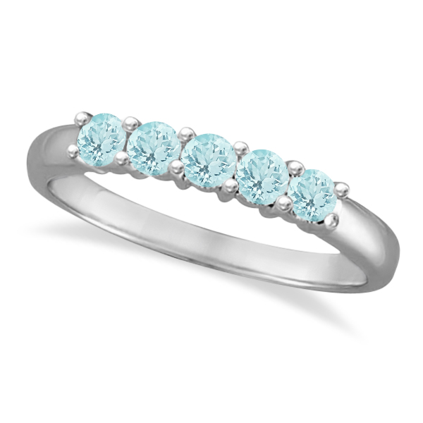 Five Stone Aquamarine Ring 14k White Gold (0.79ctw)