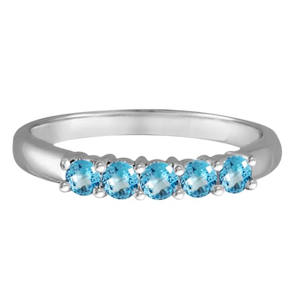Five Stone Blue Topaz Ring 14k White Gold (0.79ctw)